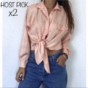 Tops - •VINTAGE BLUSH SATIN SILK BLOUSE•